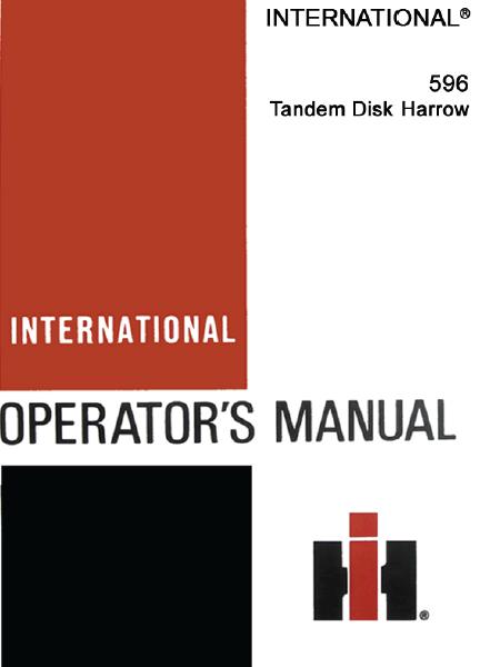 596 tandem disk harrow