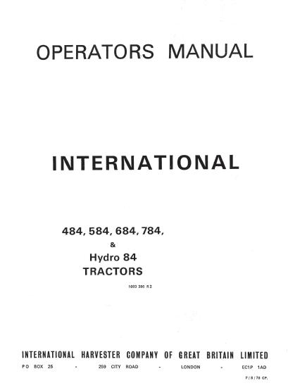 International 484 584 684 784 84 Hydro Tractor Manual PDF 9 99